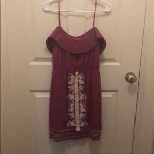 Purple and white embroidered boutique dress